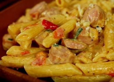 Макароны с соусом из сосисок — быстро и очень вкусно 🍝