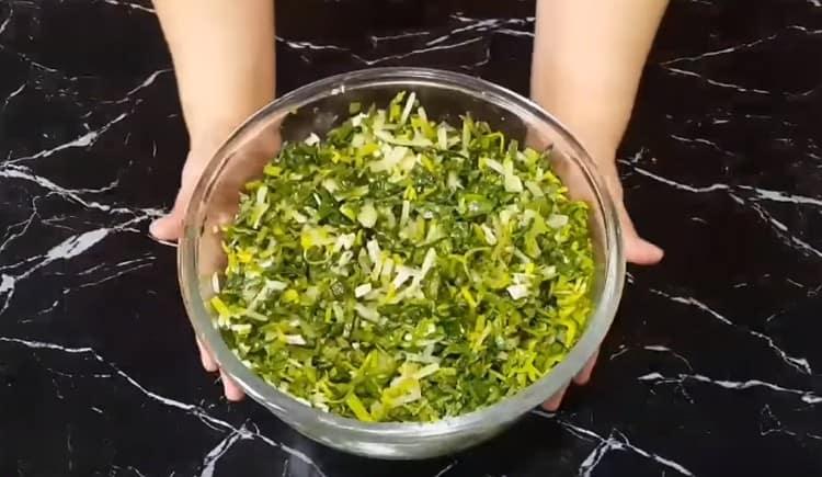 Начинка из зелени для самсы готова.