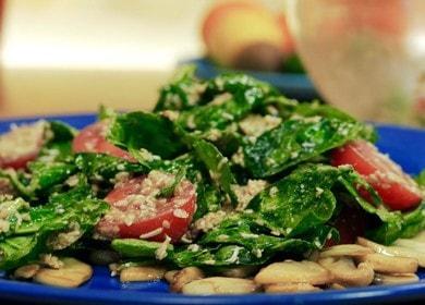 Готовим вкусный и питательный салат со шпинатом и помидорами по пошаговому рецепту с фото.