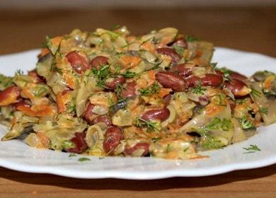 Готовим вкусный салат с фасолью и грибами по пошаговому рецепту с фото.