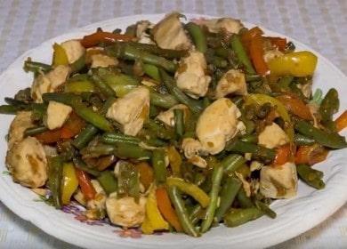Аппетитная стручковая фасоль с курицей: рецепт с фото для приготовления оригинального салата.