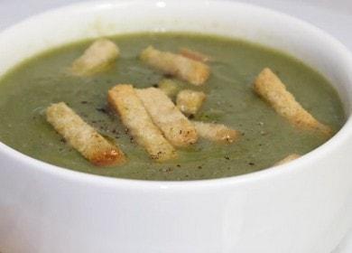 Вкусный крем-суп со шпинатом и гренками 