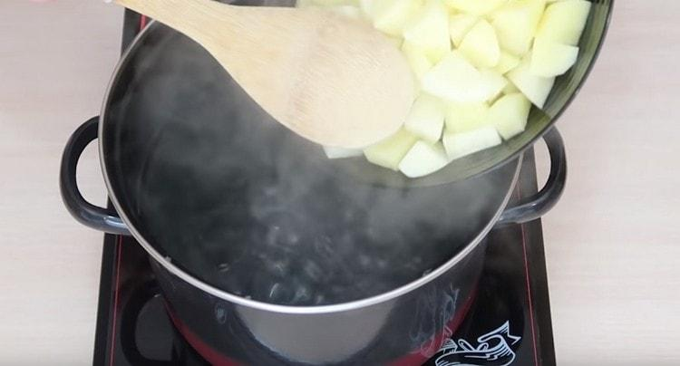 Закладываем в кипящую воду нарезанный кусочками картофель.