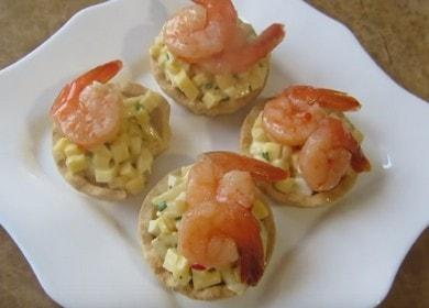 Готовим пикантные тарталетки с креветками по пошаговому рецепту с фото.