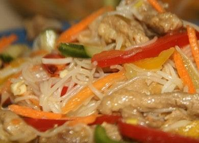 Салат фунчоза с мясом и овощами — праздничная закуска 🥗