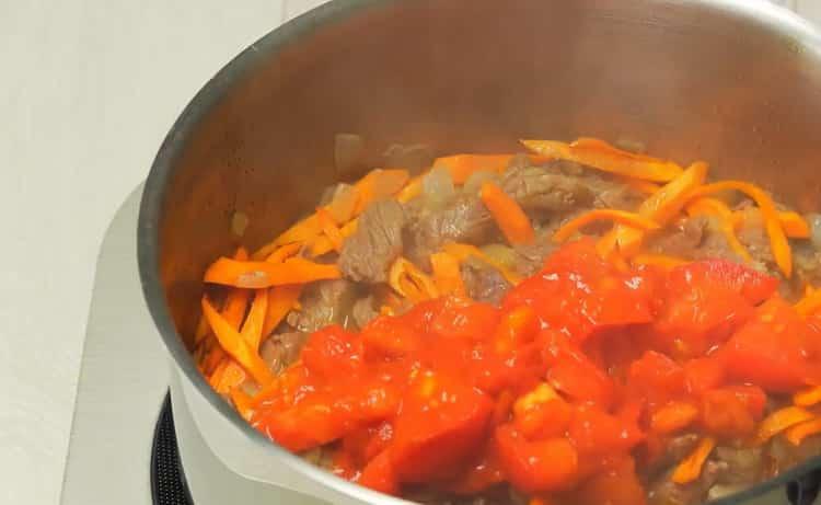 Для приготовления азу подготовьте все ингредиенты