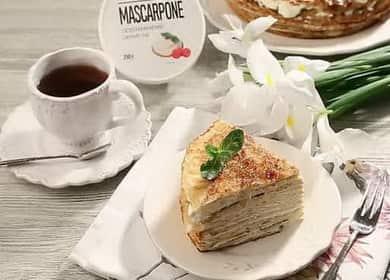 Блинный торт с маскарпоне по пошаговому рецепту с фото