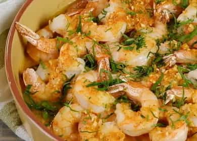 Запеченные креветки в духовке в чесночном соусе