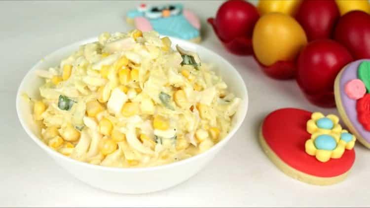 Салат с кальмарами и кукурузой по пошаговому рецепту с фото