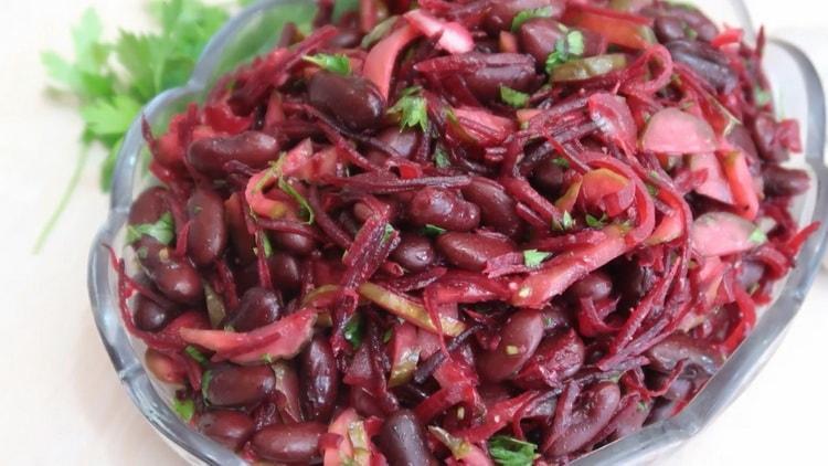 салат с красной фасолью консервированной готов