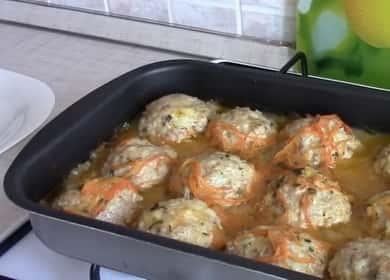 Тефтели с подливкой с рисом в духовке: пошаговый рецепт с фото
