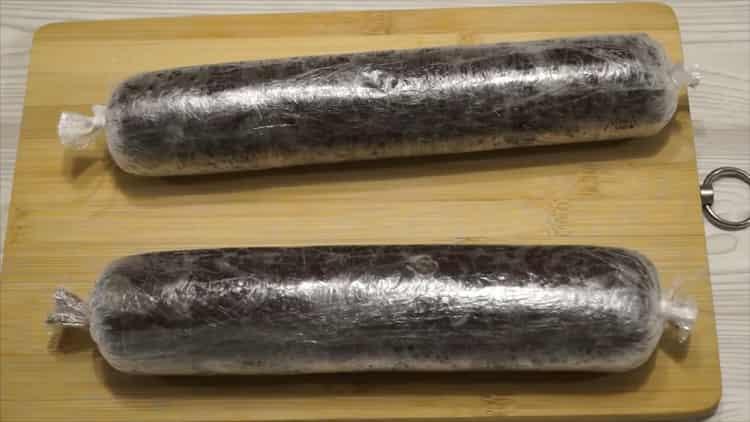Шоколадная колбаска по пошаговому рецепту с фото