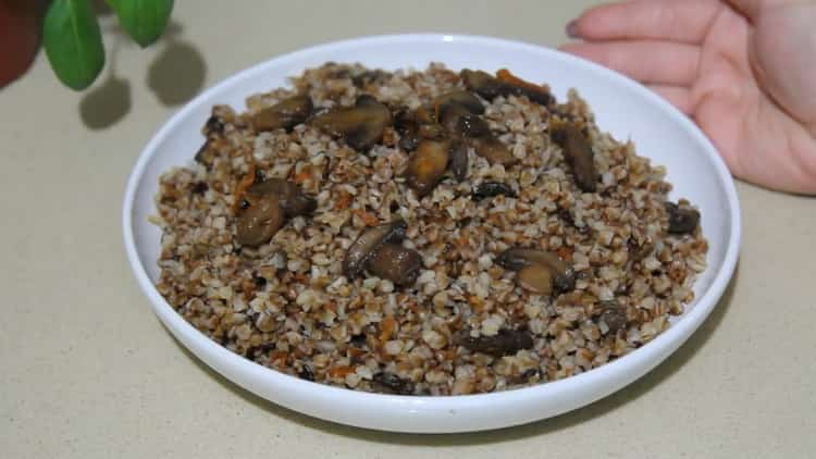 Гречка с грибами и луком по пошаговому рецепту с фото