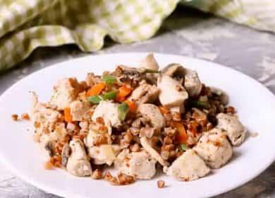 Гречка с курицей и грибами — очень вкусное сочетание продуктов 
