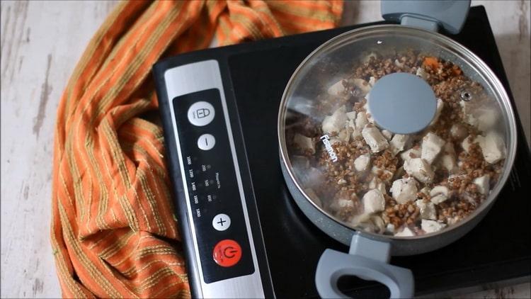 Гречка с курицей и грибами по пошаговому рецепту с фото