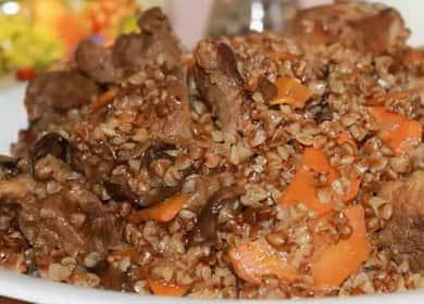 Гречка с мясом на сковороде по пошаговому рецепту с фото