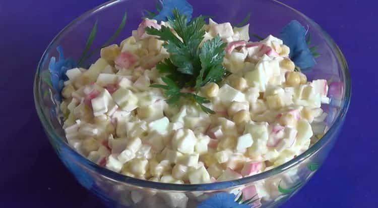 салат крабовые палочки кукуруза яйца готов