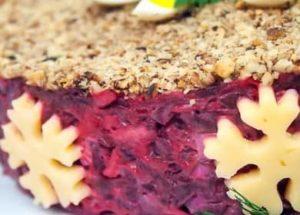 Салат на праздничный стол из свеклы с чесноком и сыром