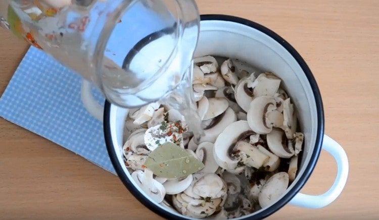 Нарезаем грибы. заливаем из водой в кастрюле.