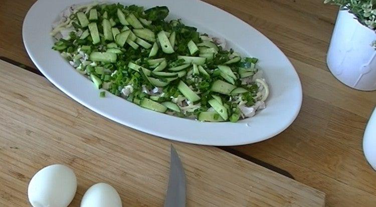поверх курицы с майонезом выкладываем зеленый лук и огурцы.
