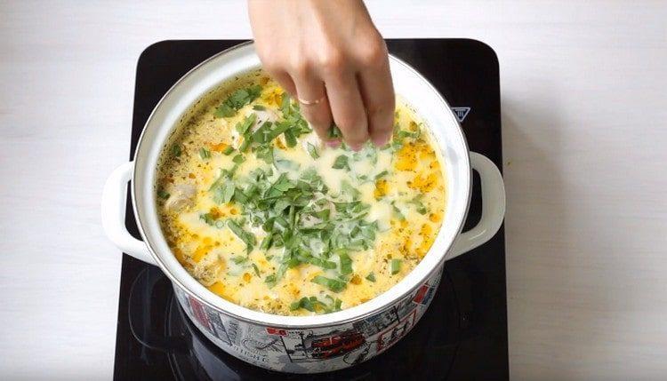 В готовый суп добавляем измельченную свежую зелень.