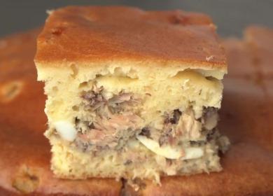 Заливной пирог с рыбными 🥝 консервами по-советски