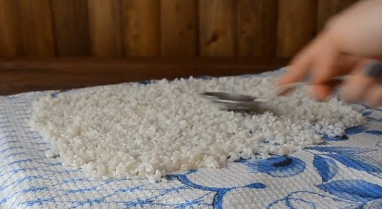 просушите рис