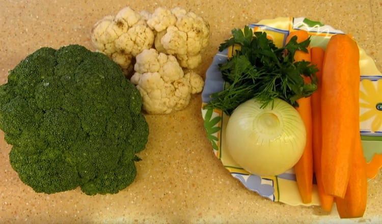Все овощи моем и чистим.