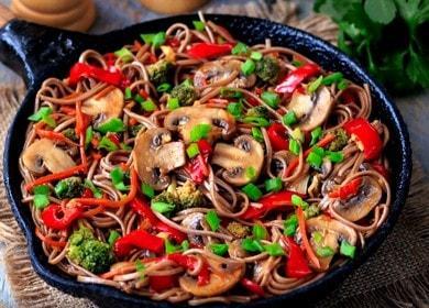 Рецепт приготовления вкусной 🥝 гречневой лапши с овощами