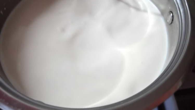 нагреваем сливки с сахаром