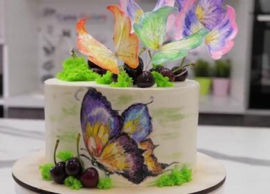 Как оформить торт 🥝 с «бабочками»