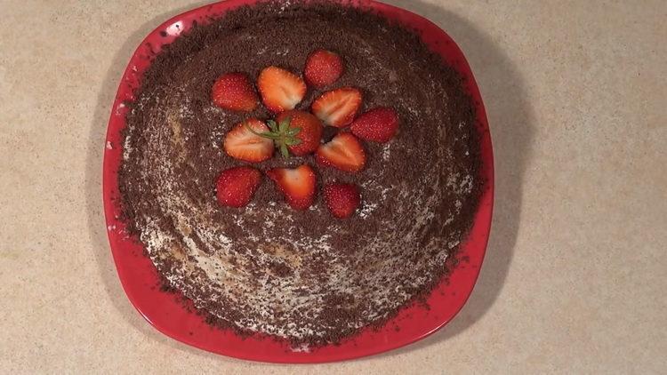 Торт из печенья без выпечки с бананом по пошаговому рецепту фото